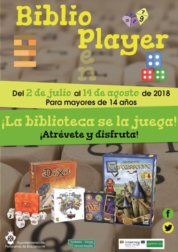 Cartel de BiblioPlayer en la Biblioteca de Peñaranda de Bracamonte